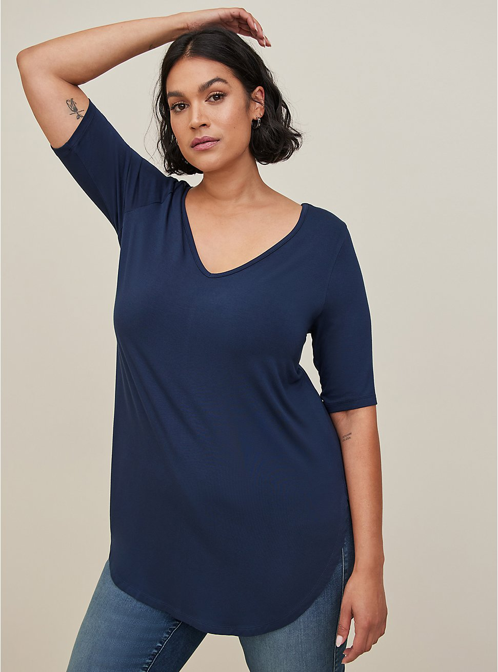 Plus Size Super Soft Navy Blue Favorite Tunic Tee, VIVID BLUE, hi-res