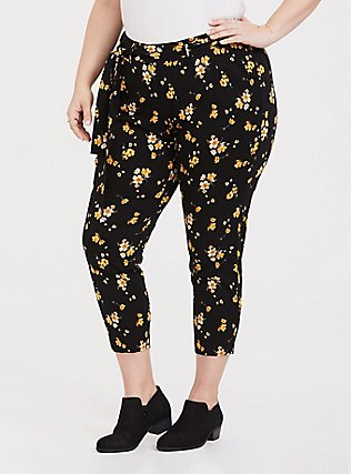 Black Floral Challis Tie Front Tapered Pant, SPRING SWEEP DITSY, alternate