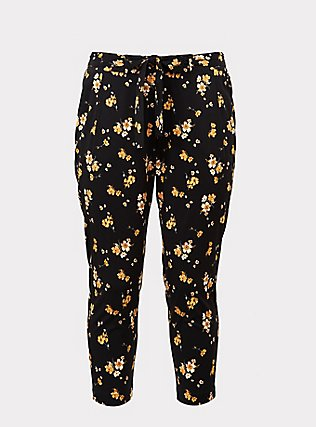 Black Floral Challis Tie Front Tapered Pant, SPRING SWEEP DITSY, flat