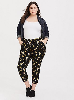 Black Floral Challis Tie Front Tapered Pant, SPRING SWEEP DITSY, hi-res