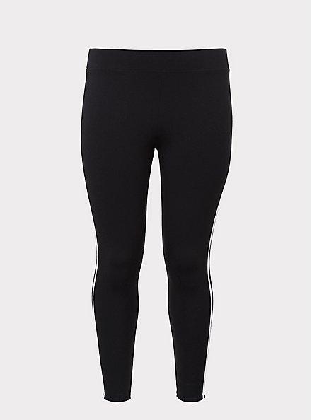 Premium Legging - Stripe white & Black , BLACK, hi-res