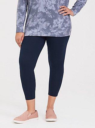 Crop Premium Legging - Dark Navy, VIVID BLUE, hi-res
