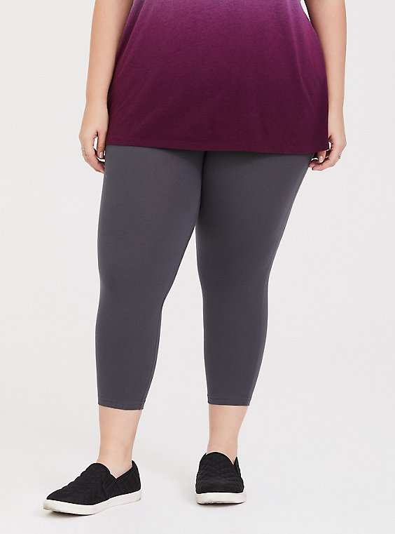 Plus Size Capri Premium Legging - Dark Grey, , hi-res