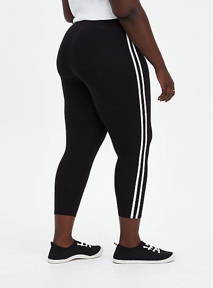 Crop Premium Legging - Stripe White & Black , BLACK, alternate