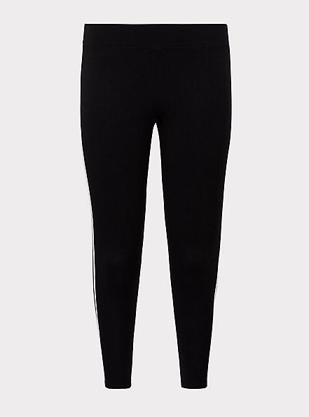 Crop Premium Legging - Stripe White & Black , BLACK, hi-res