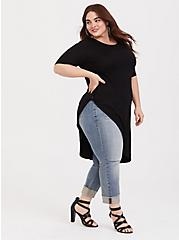 Super Soft Black Asymmetrical Side Twist Tunic Tee, DEEP BLACK, alternate