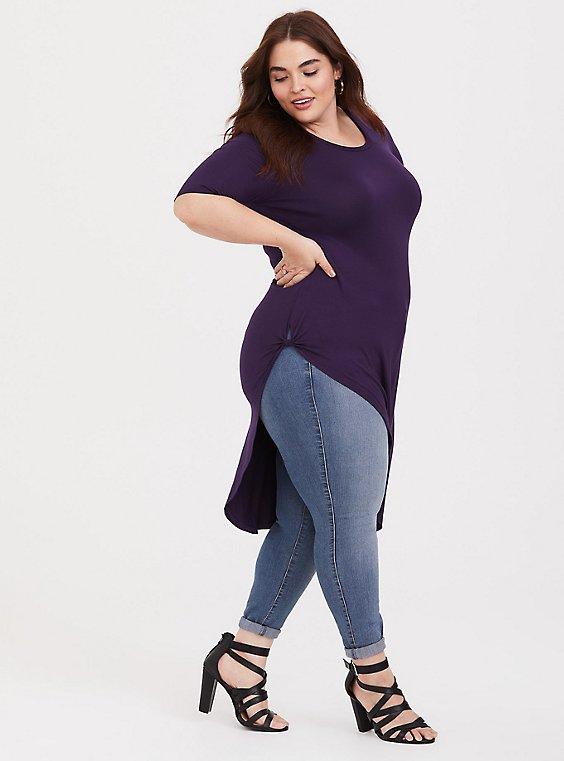 Super Soft Purple Side Twist Asymmetrical Tunic Tee, , hi-res
