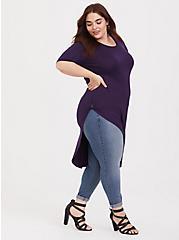 Super Soft Purple Side Twist Asymmetrical Tunic Tee, AUBERGINE, hi-res