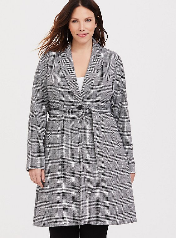 Plus Size Plaid Longline Blazer, , hi-res