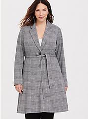 Plus Size Plaid Longline Blazer, PLAID, hi-res