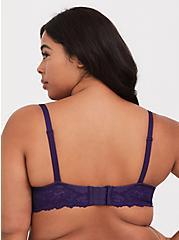 Dark Purple Lace Corset Push Up Plunge Bra, EGGPLANT, alternate