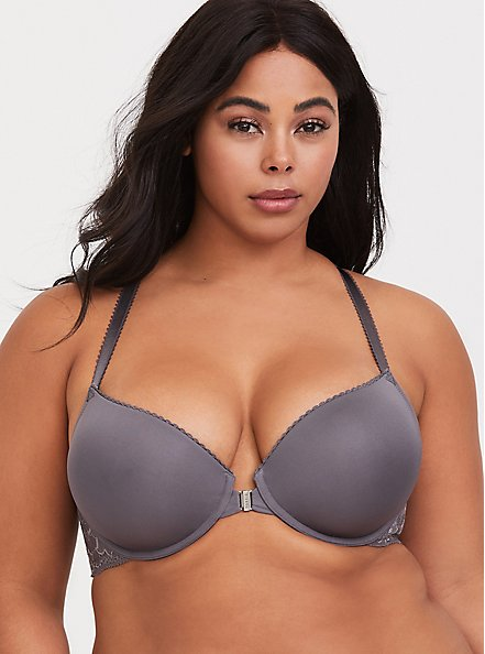 Slate Grey Microfiber & Lace Push-Up Racerback Bra, GREY, hi-res