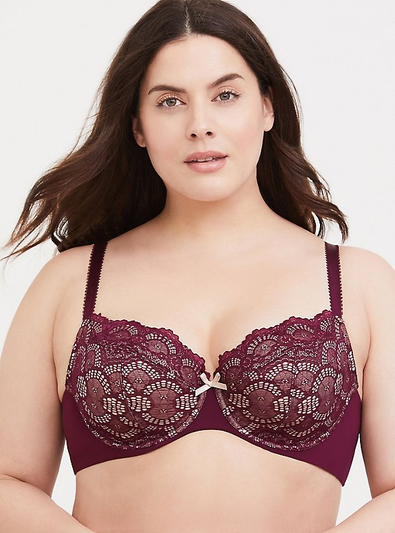 Burgundy Red Lace Unlined Demi Bra, , hi-res