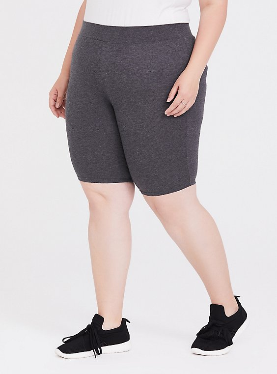 Plus Size Charcoal Grey Bike Short, , hi-res