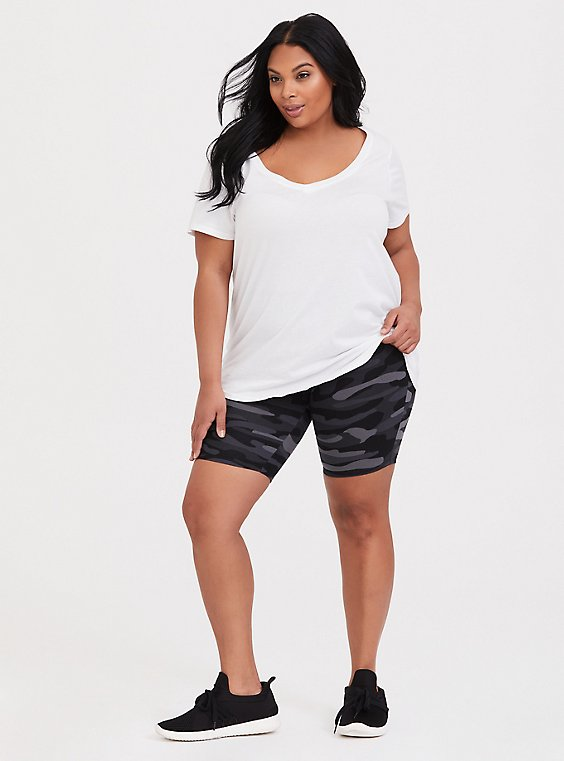 Plus Size Brushed Camo Bike Short, , hi-res