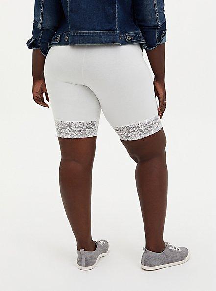 White Lace Trim Bike Short, WHITE, alternate