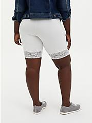 Plus Size White Lace Trim Bike Short, WHITE, alternate