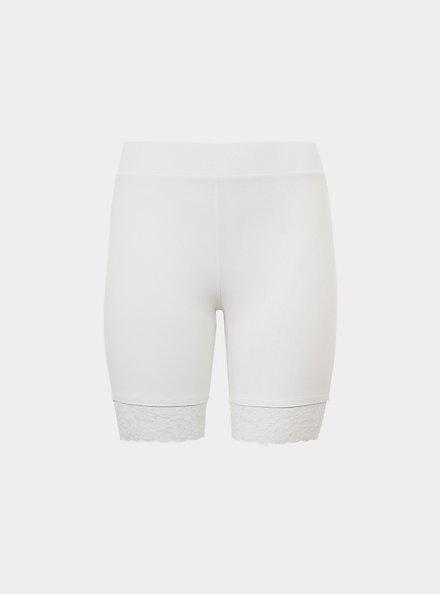 White Lace Trim Bike Short, WHITE, hi-res