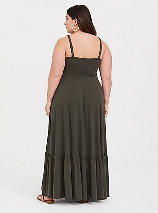 Plus Size Olive Strappy Jersey Tier Maxi Dress, DEEP DEPTHS, alternate