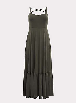 Plus Size Olive Strappy Jersey Tier Maxi Dress, DEEP DEPTHS, flat