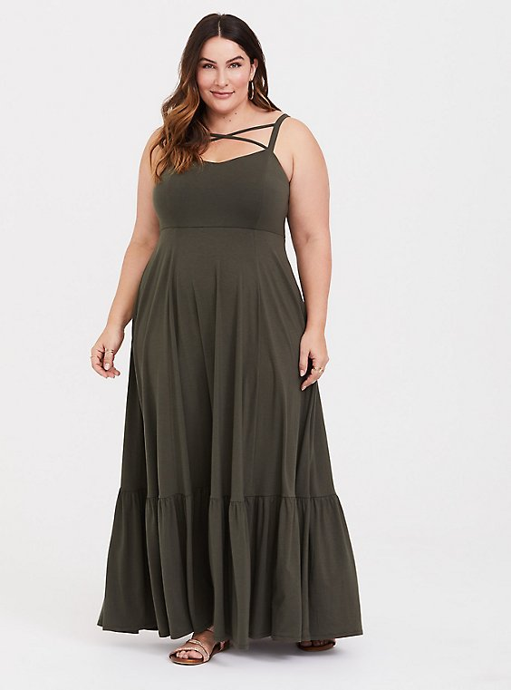 Olive Green Jersey Crisscross Shirred Maxi Dress, , hi-res