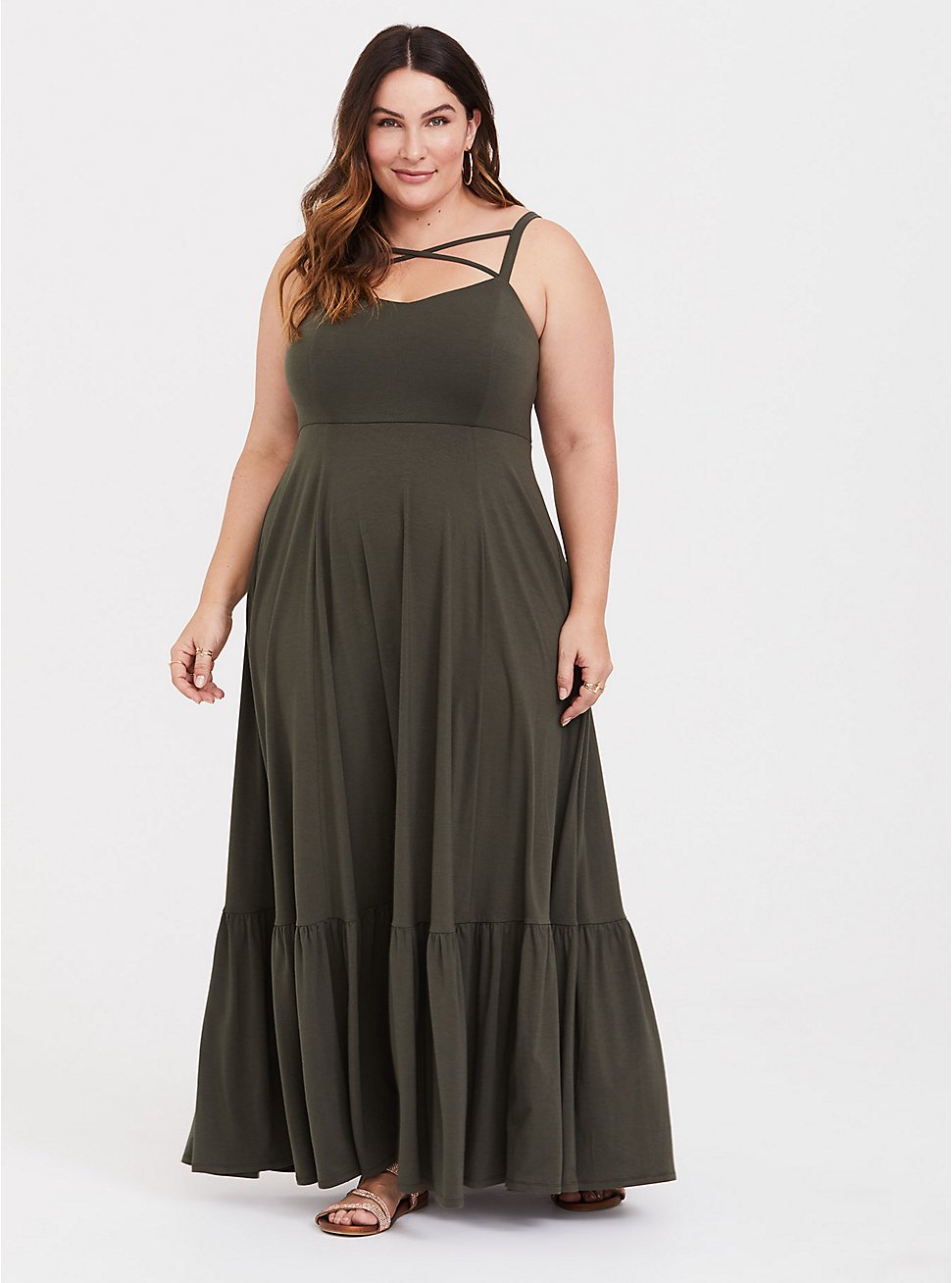 Olive Green Jersey Crisscross Shirred Maxi Dress, DEEP DEPTHS, hi-res