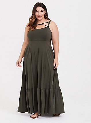Olive Strappy Jersey Tier Maxi Dress, DEEP DEPTHS, hi-res