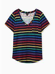 Pocket Tee - Heritage Slub Stripe Rainbow & Black , COLORFUL STRIPE, hi-res