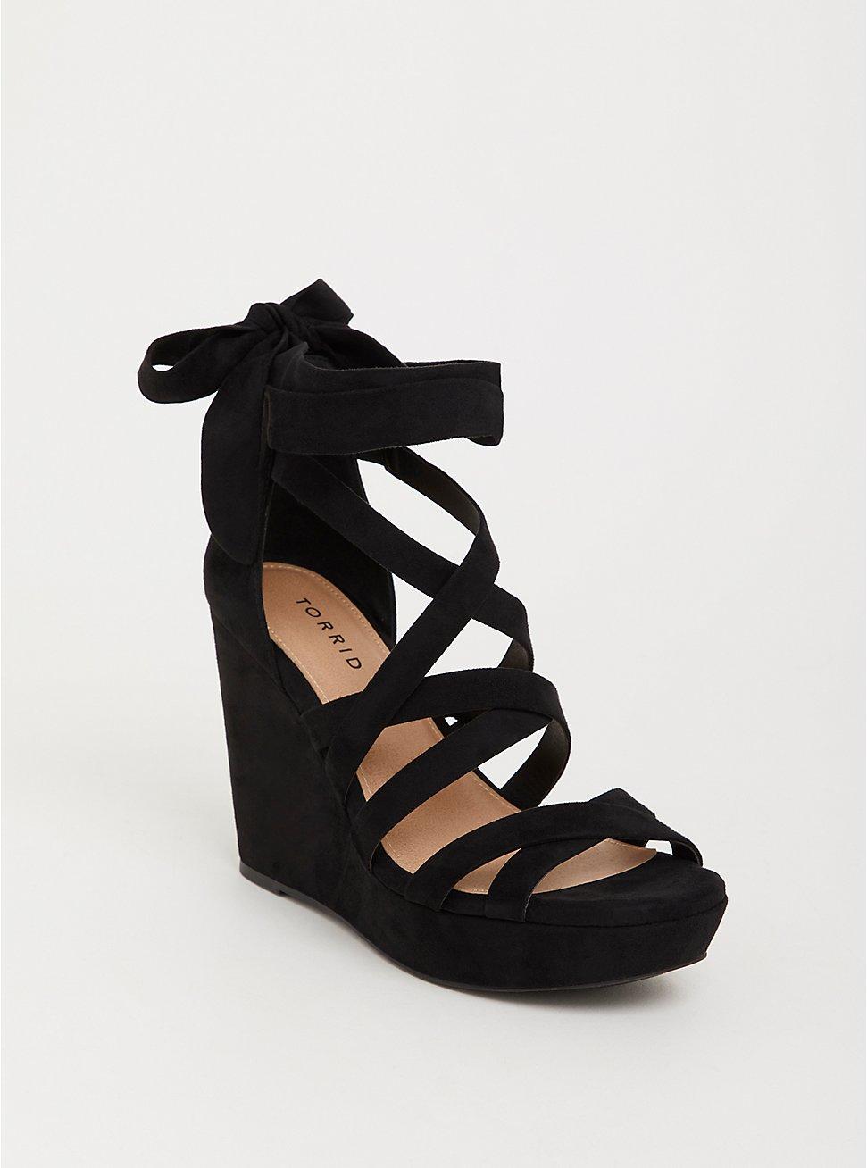 Black Faux Suede Strappy Ankle Wrap Platform Wedge (WW), BLACK, hi-res
