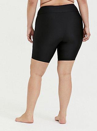 Plus Size Black Swim Bike Short, DEEP BLACK, alternate