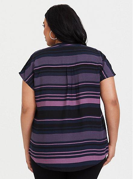 Purple Multi Stripe Challis Dolman Blouse, STRIPES, alternate