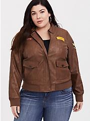 Her Universe Captain Marvel Bomber Jacket, BROWN, hi-res