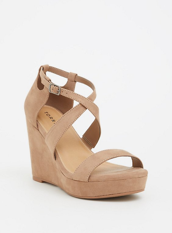 Plus Size Taupe Strappy Platform Wedge (WW), , hi-res