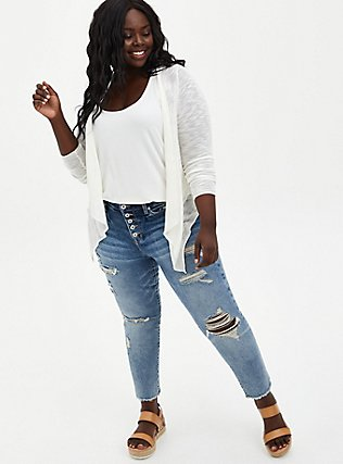 White Slub Drape Cardigan, CLOUD DANCER, alternate