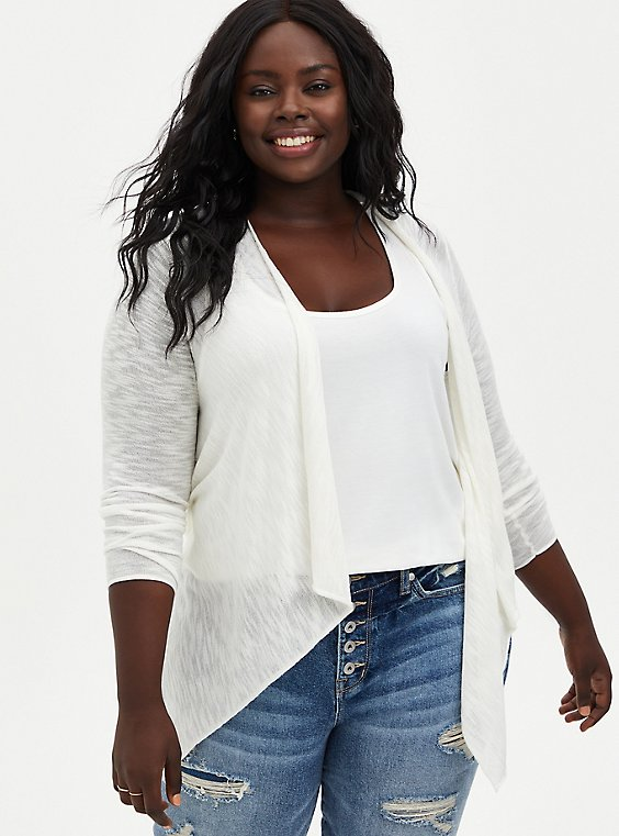 Plus Size White Slub Drape Cardigan, , hi-res