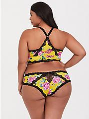 Yellow Floral Microfiber & Lace Cheeky Panty, FLORALS-YELLOW, alternate