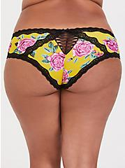 Yellow Floral Microfiber & Lace Cheeky Panty, FLORALS-YELLOW, hi-res