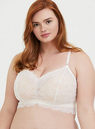 Plus Size Ivory Lace & Nude Racerback Bralette, CLOUD DANCER, hi-res
