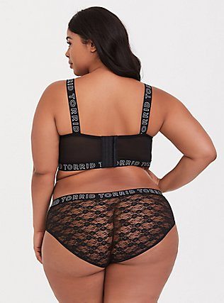 Plus Size Torrid Logo Black Lace Unlined Longline Underwire Bralette, RICH BLACK, alternate