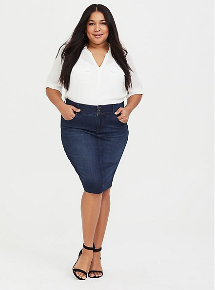 Denim Mini Skirt - Premium Stretch Medium Wash, OAKDALE, alternate
