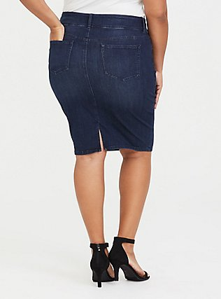 Plus Size Denim Mini Skirt - Premium Stretch Medium Wash, OAKDALE, alternate