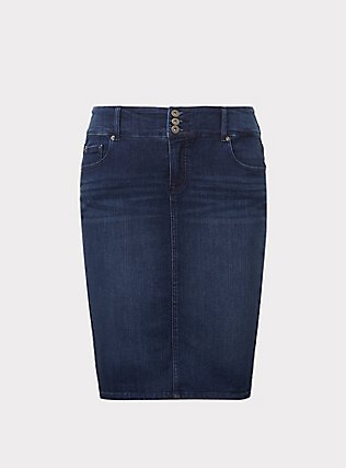 Denim Mini Skirt - Premium Stretch Medium Wash, OAKDALE, flat