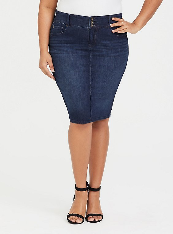Denim Mini Skirt - Premium Stretch Medium Wash, , hi-res