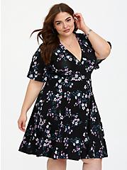 Plus Size Black Floral Jersey Skater Dress, FLORAL BUSHEL, alternate