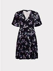Plus Size Black Floral Jersey Skater Dress, FLORAL BUSHEL, hi-res