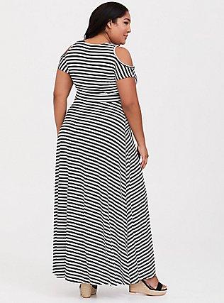 Black & White Stripe Jersey Cold Shoulder Maxi Dress, MEASURED STRIPE, alternate