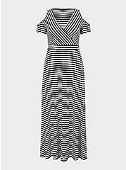 Black & White Stripe Jersey Cold Shoulder Maxi Dress, MEASURED STRIPE, hi-res