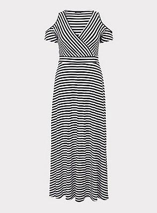 Black & White Stripe Jersey Cold Shoulder Maxi Dress, MEASURED STRIPE, flat
