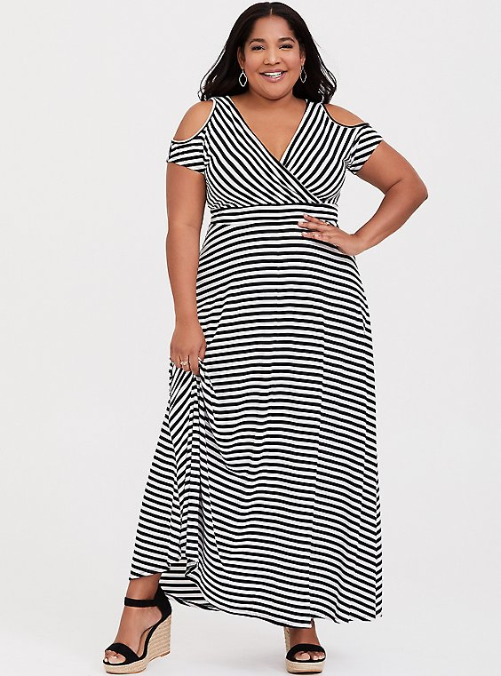 Black & White Stripe Jersey Cold Shoulder Maxi Dress, , hi-res