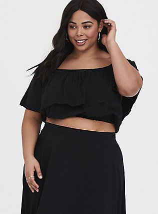 Black Challis Off Shoulder & Ruffle Skirt 2-Piece Set, DEEP BLACK, alternate